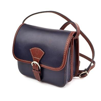 0075fda3a520b Vera Pelle Italien Echt Leder Schultertasche Frauen Damen Tasche Handtasche  Ital Bag (Dunkel Blau Braun