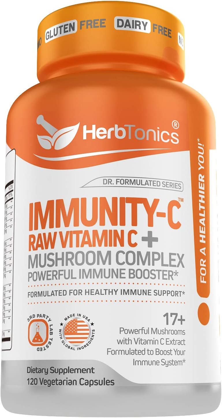 Immunity-C Natural Vitamin C with Mushroom Supplement Complex Immune System Support Booster & Immune Defense (Lions Mane, Cordyceps, Chaga, Reishi, Turkey Tail) Vegan Capsules