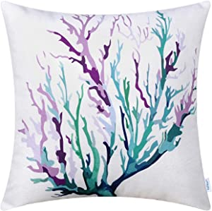 CaliTime Canvas Throw Pillow Cover Shell for Couch Sofa Home Decoration Aquarelle Painting Print 18 X 18 Inches Sea Coral Tree Purple Teal