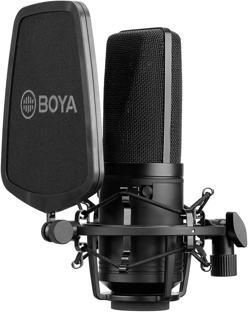 BOYA Micrófono de condensador de estudio con membrana grande, 24 V, 48 V, alimentación fantasma, carcasa robusta para grabación de canto y podcasting