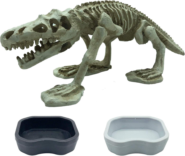 PINVNBY Resin Dinosaur Skeleton Decoration Reptile Artificial Dinosaur Fossil Ornament Habitat Bone Landscaping Decor Fish Tank Aquarium Accessories for Gecko,Snakes,Lizard and Fish