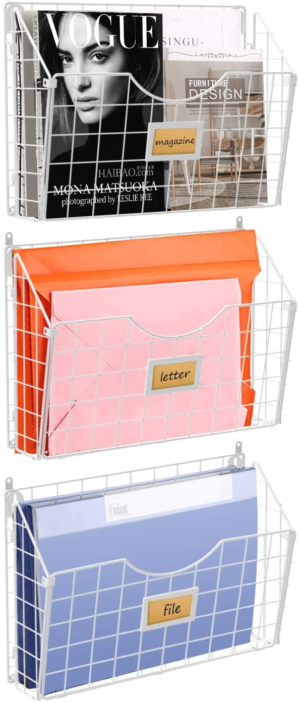 Stackable Hanging Wall Files Rack&3-Tier Metal Folder Wall File Holder with Tag Slot Mounts on Wall and Door for Office, Home, and Work Easy Organizing,White(Patent Pending)