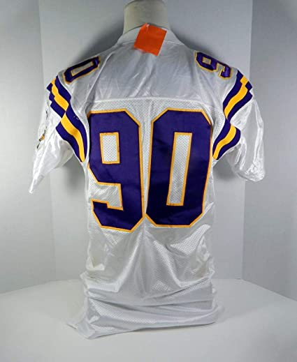 17b550f6c 1998 Minnesota Vikings Derrick Alexander  90 Game Issued White Jersey - Unsigned  NFL Game Used