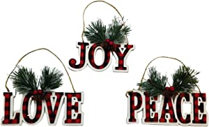 OSW Buffalo Plaid Christmas Signs, Set of 3 Decorative Wooden Hanging Signs for Xmas - Love, Peace and Joy with Pine Branch, Pine Cones Holly Berries