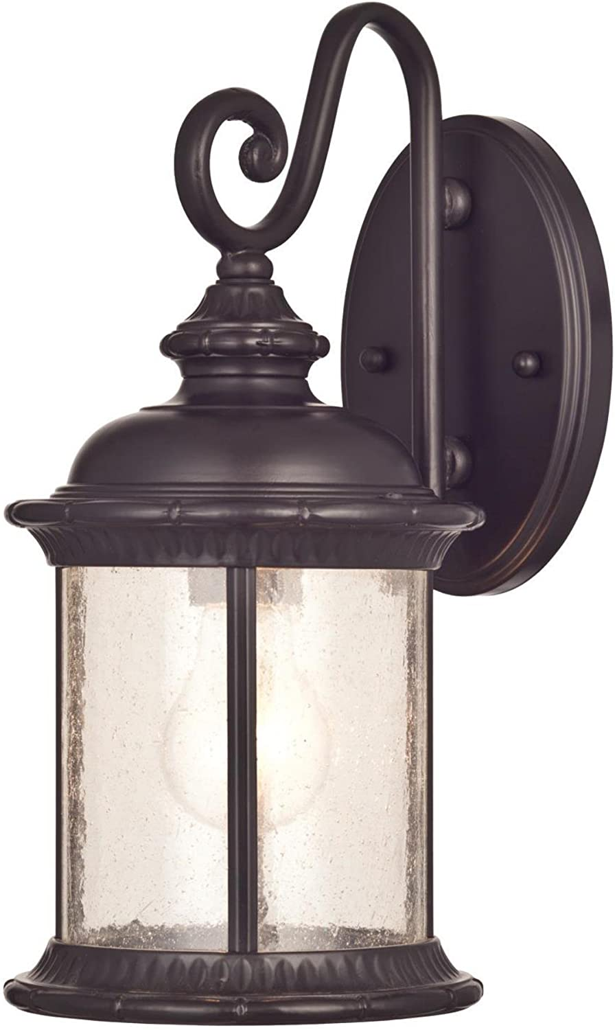 Westinghouse Lighting 6230600 New Haven One Light Exterior Wall Lantern On Steel With Clear Seeded Glass Oil Rubbed Bronze Finish Wall Porch Lights Amazon Com