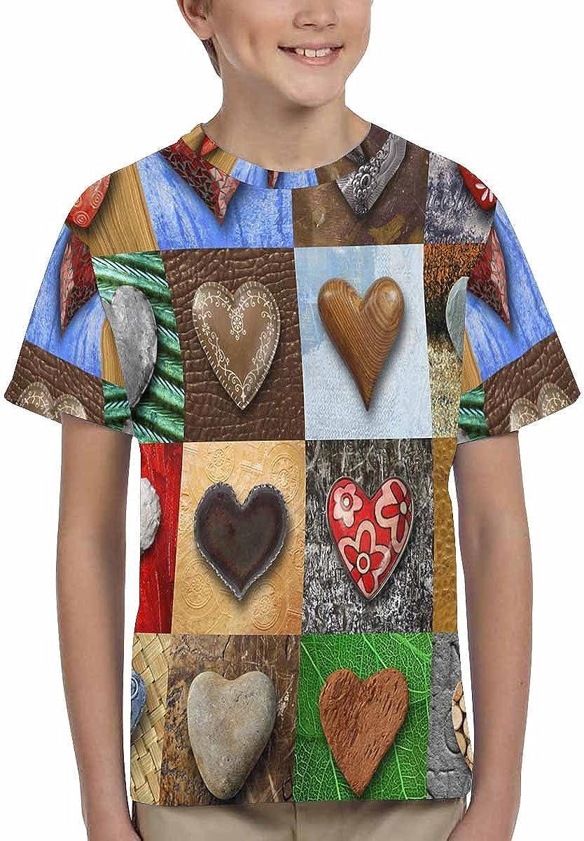 XS-XL INTERESTPRINT Stones Metal Wood Heart-Shaped Unisex Kids T-Shirts
