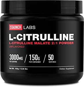 Staunch L-Citrulline Malate Powder 50 Servings (150 Grams)