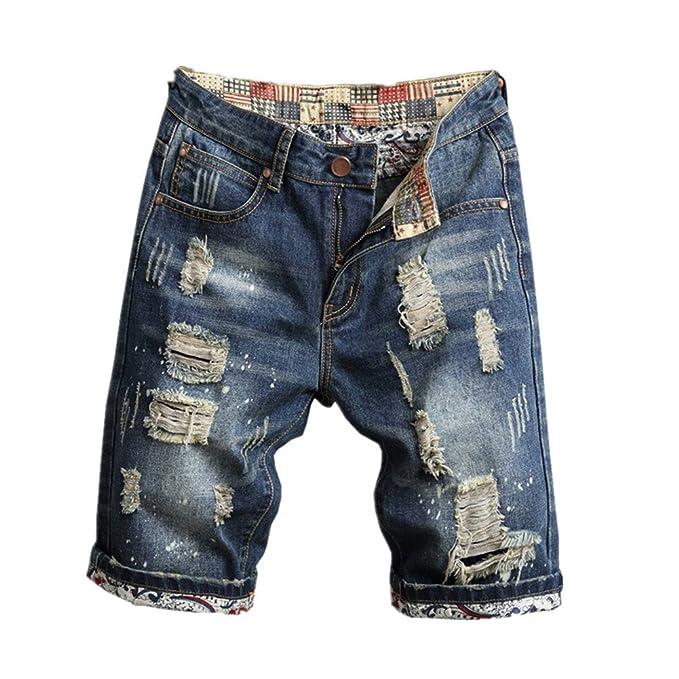 Liuhond Men s Casual Denim Ripped Mid Waist Distressed Jeans Shorts Hole Cut-Off  Short Dark 8aeee40c1