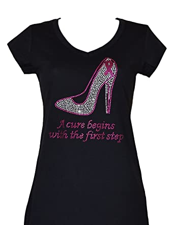 7d99f65d45d Rhinestone Breast Cancer Ribbon First Step Top Shirt Cure T Shirt. Size  S  to