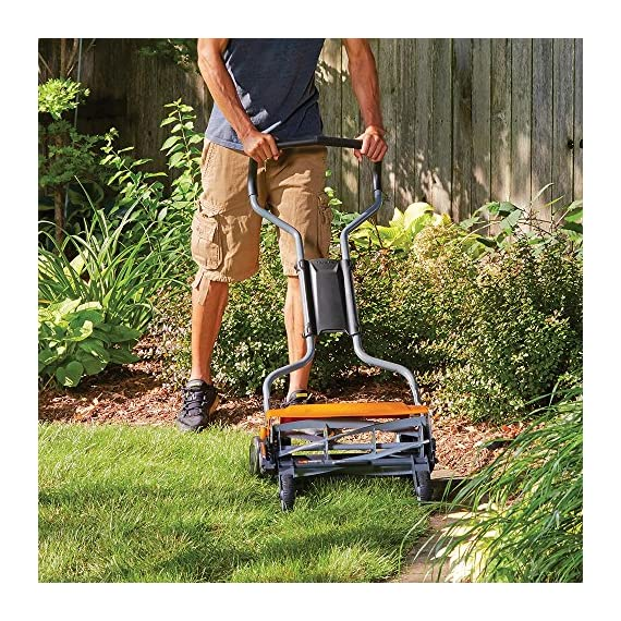 Fiskars staysharp max reel mower 6 the smart design of reel mower offers a cleaner cut without the hassles of gasoline, oil, battery charging, electrical cords or loud engine noise a combination of advanced technologies make the staysharp plus reel mower 40-percent easier to push than other reel mowers patent-pending inertia drive reel delivers 75-percent more cutting power to blast through twigs, weeds and tough spots that would jam other reel mowers
