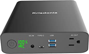 Krisdonia AC Outlet Portable Charger 60000mAh 110V/130W Laptop Power Bank with AC Outlet, 2 USB QC 3.0 and Type-C for MacBook, Laptop, CPAP, Drone, Projector and More