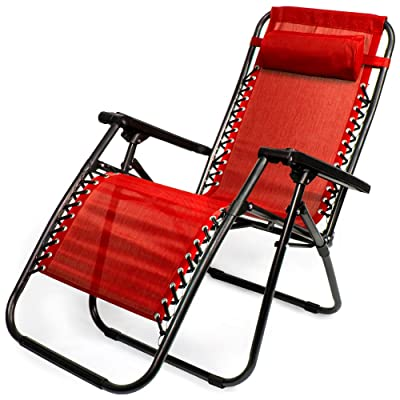 Zero Gravity Outdoor Folding Lounge Chair with Pillow, Red: Sports & Outdoors