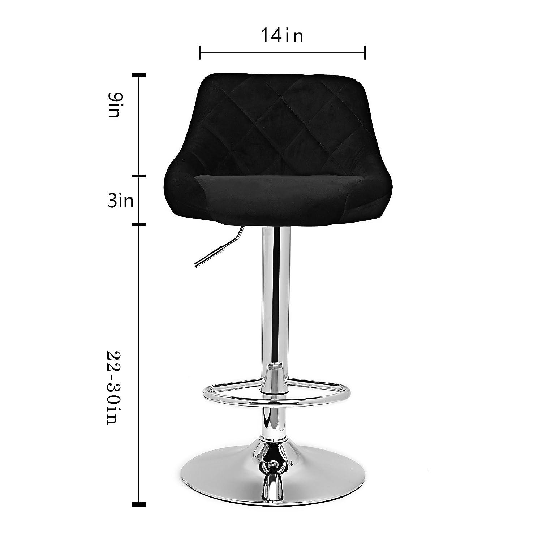 Magshion Microfiber Seat Top Air Lift Bar Stool Adjustable Home Counter Stool Set of 2 Black