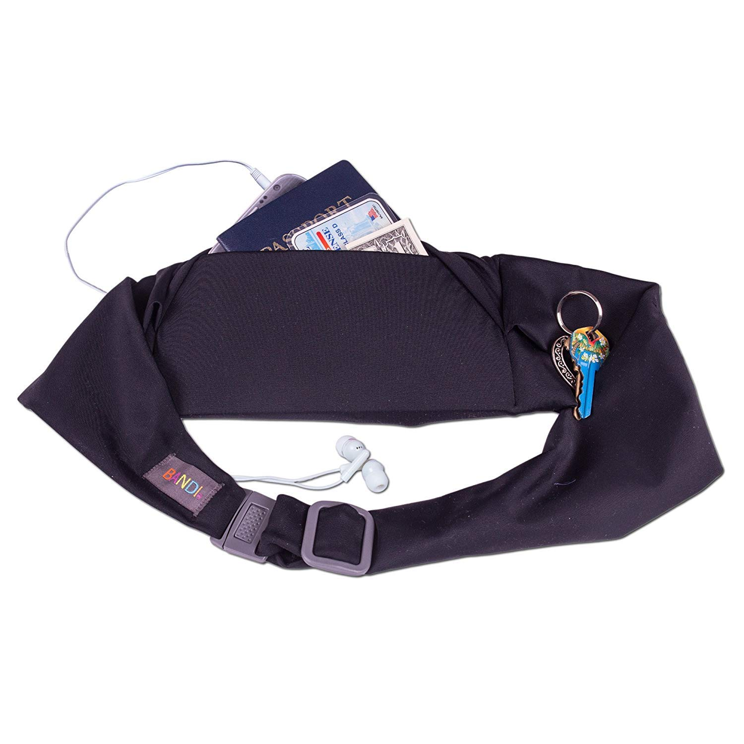 BANDI Large Travel and Running Belt, Securely Carry Keys, Phone, Medicine, Money or Food While You Exercise or Travel Within Its Sleek 3 Pocket Design, Size 7.5 Inch by 3.5 Inch Black Solid One Size