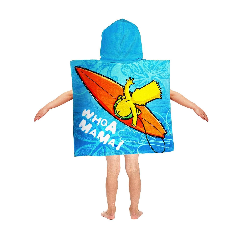 SIMPSONS BART SURFIN PONCHO KID BOYS COTTON CHARACTER HOODED BATH BEACH TOWEL