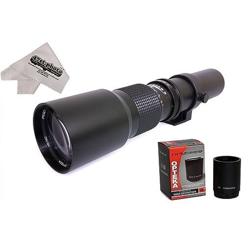 Opteka 500-1000mm f/8 HD Preset Telephoto Lens with Cloth for Nikon D5, D4s, D4, D3x, Df, D810, D800, D750, D610, D500, D7500, D7200, D7100, D5600, D5500, D5300, D5200, D3400, Digital SLR Cameras