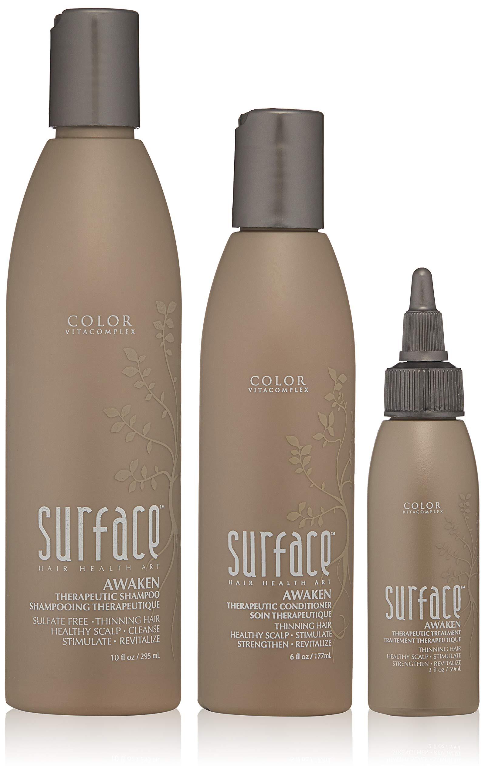 Surface AWAKEN trio Therapeutic Shampoo 10 fl oz Therapeutic Conditioner 6 oz Awaken Therapeutic Treatment 2 fl oz. by Surface Hair