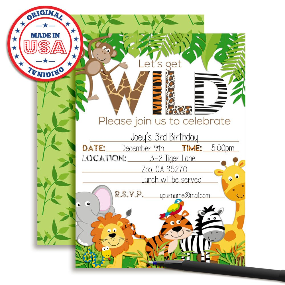 Amazon Lets Get Wild Jungle Animal Party Invitations 20 5x7 Fill In Cards With Twenty White Envelopes By AmandaCreation Toys Games