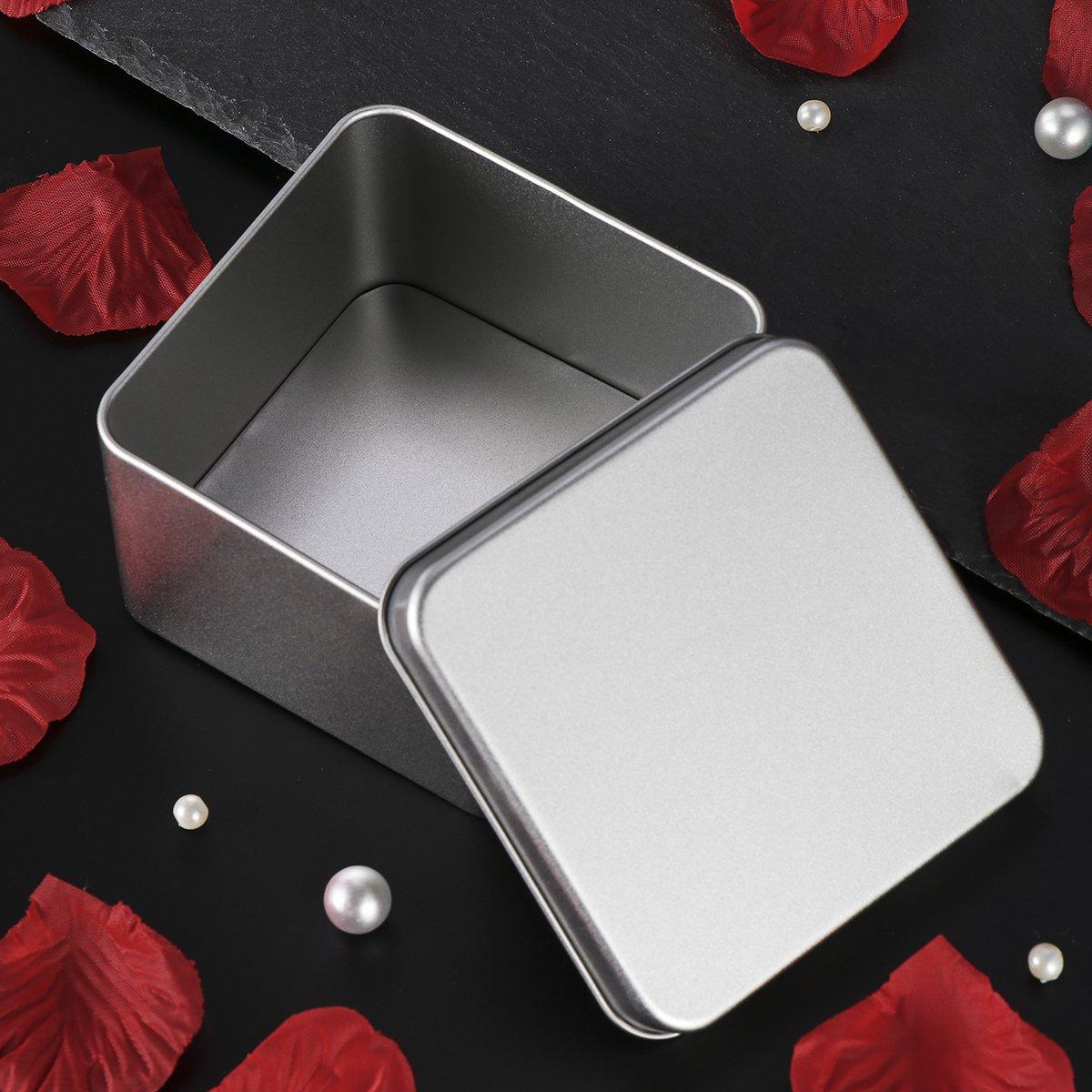 manualidades comida BESTONZON Cajas met/álicas cuadradas de metal plateado Cajas met/álicas transparentes para velas almacenamiento M/ás Plata 90 x 90 x 55 mm