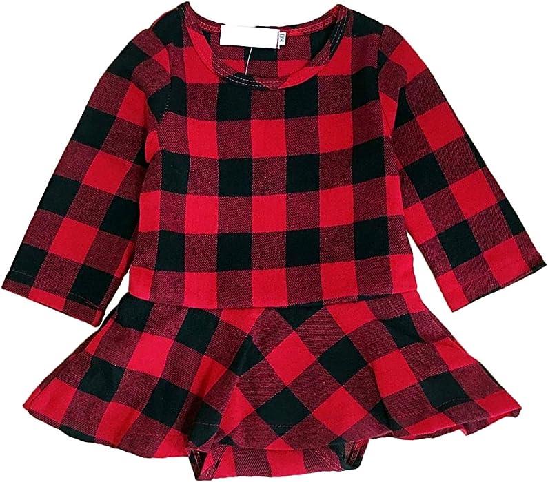 fc443b109ed0 Zukuco Baby Girl Christmas Romper Outfit Plaid Long Sleeve Shirt Ruffle  Princess Dress Romper (Red