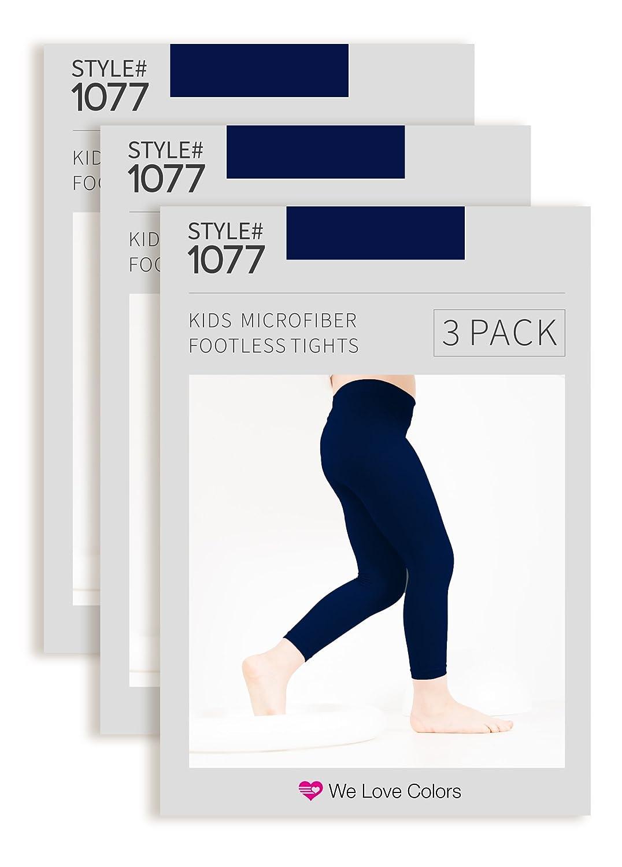 Kids Microfiber Footless Tights Navy 3 Pack 1077-Navy-3PACK-710