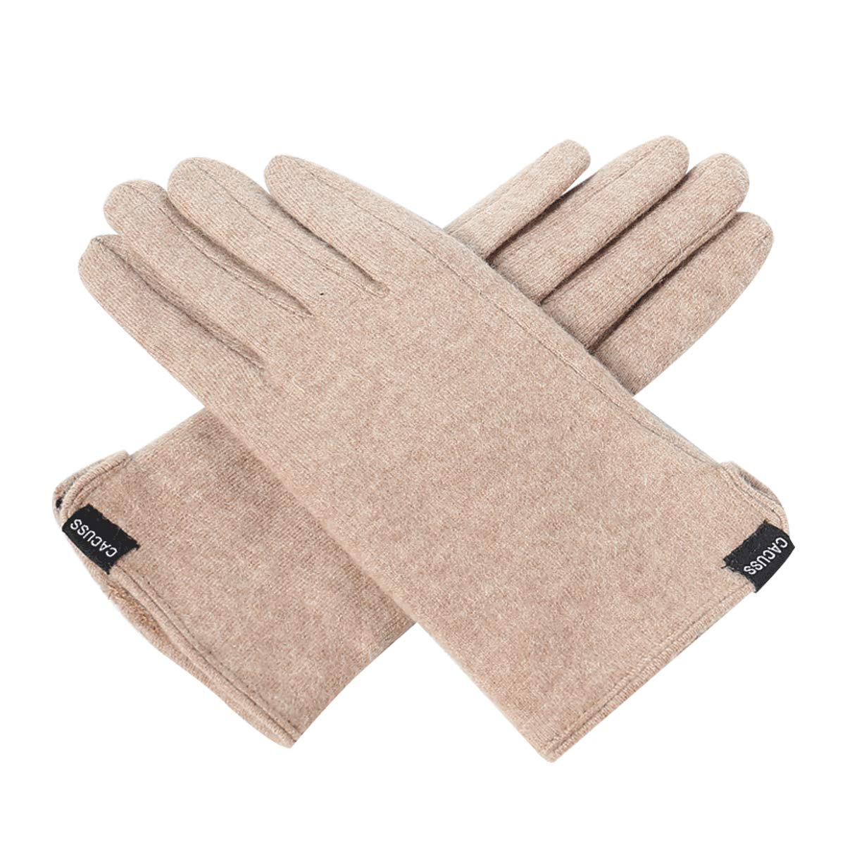 CACUSS Gloves Women Autumn and Winter Knit Gloves for Women Warm Touch Screen Gloves Wear-resistant Cycling Travel Windproof Finger Gloves Ladies (Light tan) by CACUSS (Image #1)