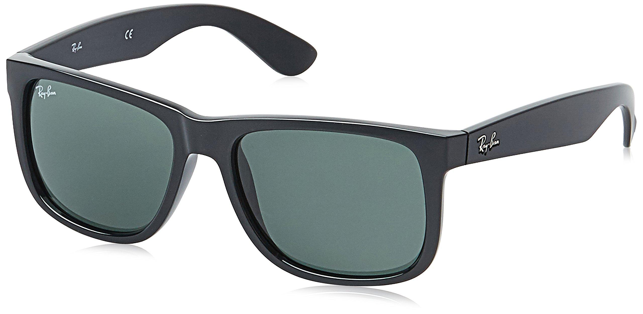 Ray-Ban Men's Justin Rectangular Sunglasses, Black, 55 mm
