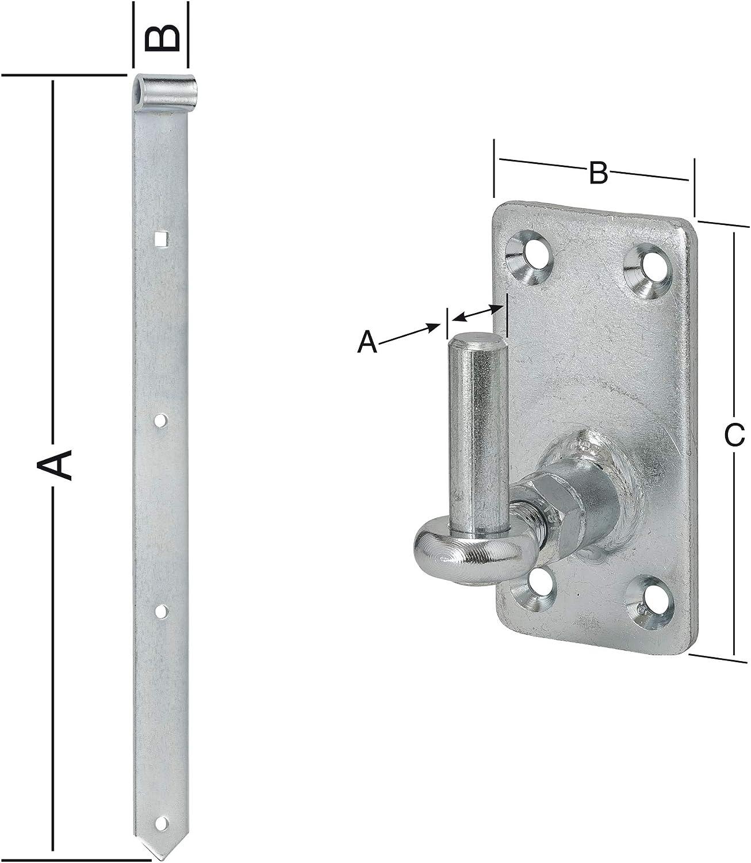 blau verzinkt inkl Kloben Ladenbandl/änge: 600 mm Durchmesser Kloben: 13 mm Verstellbar HAUS /& DACH Ladenband Set