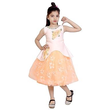 91b2c415fc91 KBKIDSWEAR Girl s Party-Wear Premium Net Round Neck Frock  Amazon.in ...
