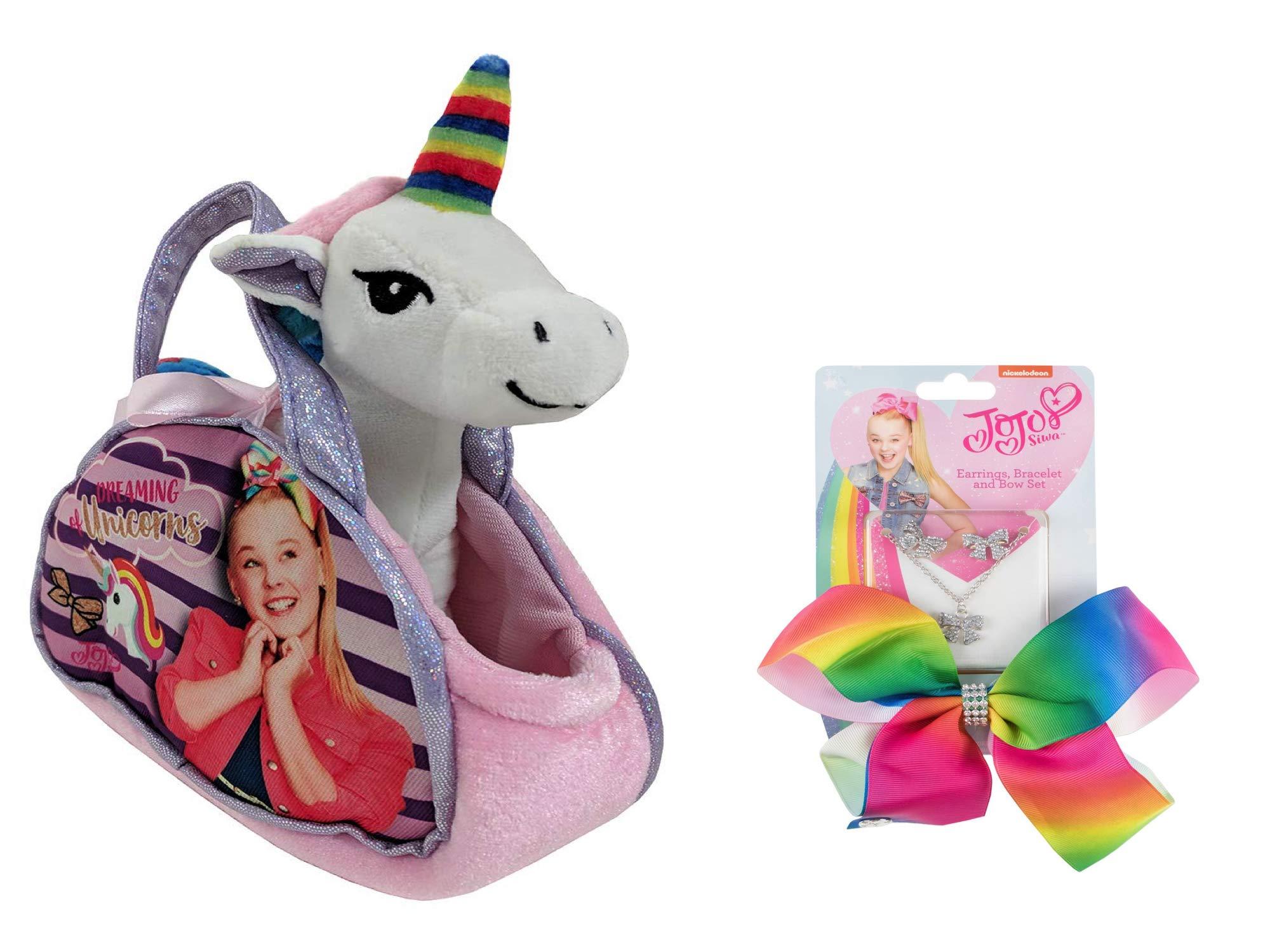 Nickelodeon JoJo Siwa Dreaming of Unicorns Purse W/Removable Plush Unicorn & JoJo Rainbow Hair Bow - Multi Value Bundle