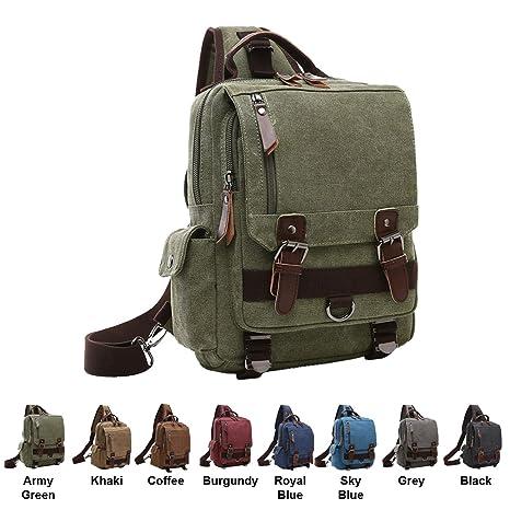 94c37be8e Amazon.com  Queenie - Unisex Canvas Cross Body Messenger Bag Sling Bag  Backpack Shoulder Bag Travel Rucksack For Men and Women (8596 Sling Bag  Army Green)  ...