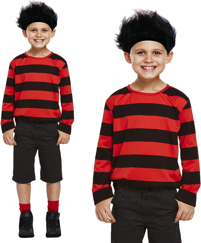 Mens Womens Kids Dennis Fancy Dress Black Red Stripe The Menace Costume Wig Top