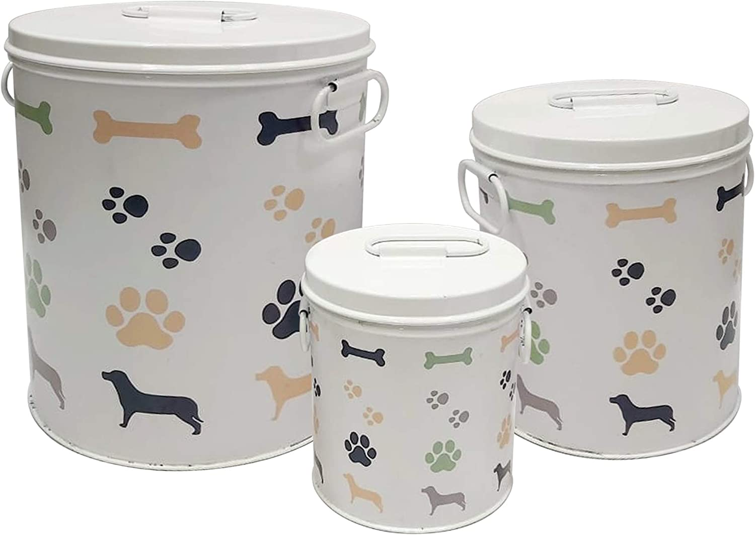 nu steel metal White 3 Pc set Jumbo Pet Canister with bone, paw, dog prints, Dog Food Treat Storage Container Jar with Lid, Tight Fitting Lids for Dog Biscuit Cookies