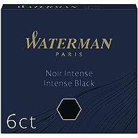 Waterman - Cartuchos de tinta para plumas estilográficas, 'International' cortos, negro intenso, paquete de 6