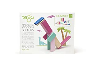 Tegu 14 Piece Magnetic Wooden Building Block Toy Set Blossom (Girl-Boy Educational STEM Gift For Ages 1,2,3,4,5,6+ Years Old)