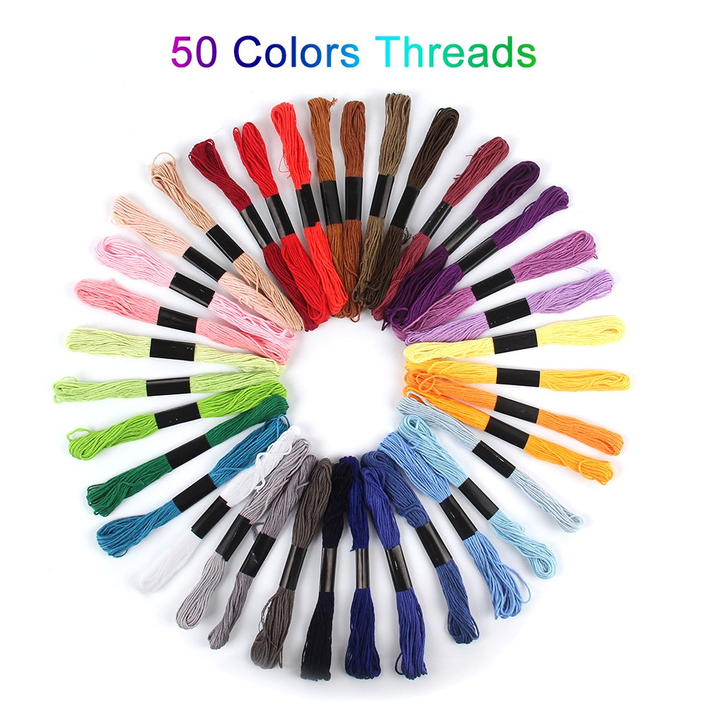 Magic Embroidery Pen Punch Needles,blueelica Embroidery Stitching Punch Set Craft Tool Including 50 Color Threads for DIY Threaders Sewing Knitting
