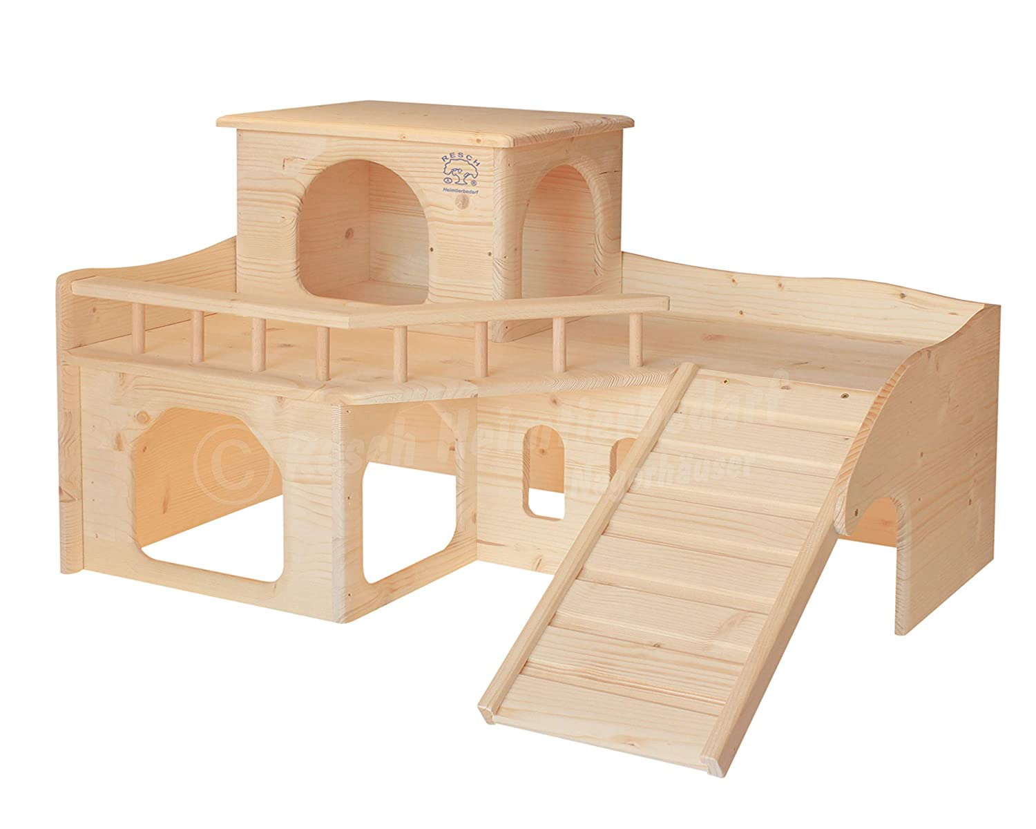 Resch No36 Rabbit Castle Natural Solid Wood Spruce One Screw-On Staircase and a Removable Tower Three Large Entrances on the ground floor