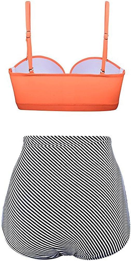 Summer Bikini,Women High Waist Bikinis Swimwear Swimuit Female Retro Beachewear Bikini Set /℘Shusuen/℘