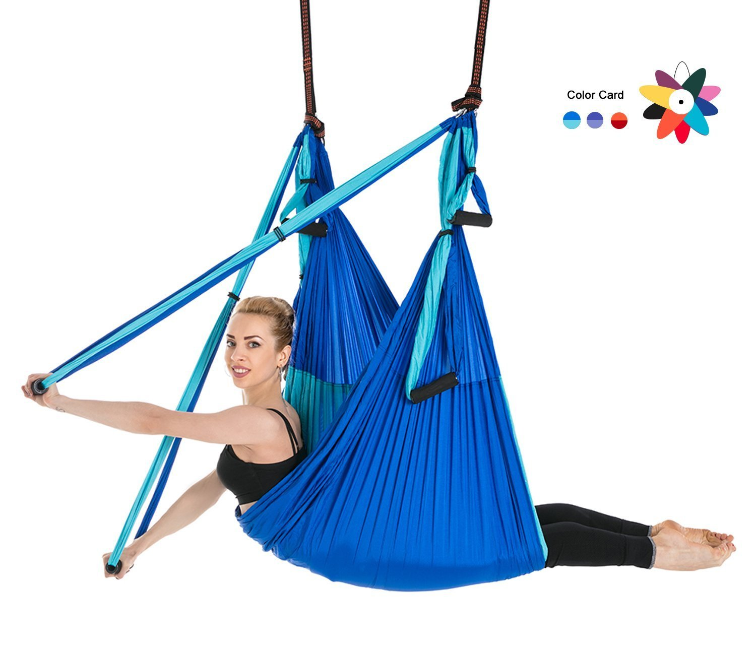 Ranbo Yoga Inversion Swing - Anti-Gravity Aerial Trapeze - Flying Hammock Sling - Relieves Back Pains, Improves your Strength, Balance, Flexibility and Endurance (Darkblue/Blue)