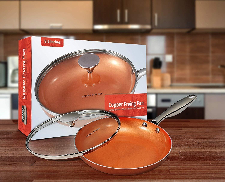 Antiadherente Sartén - Sartenes De Cobre De Inducción Con Mango De Acero Inoxidable Y Tapa De Vidrio Di Utopia Kitchen: Amazon.es: Hogar