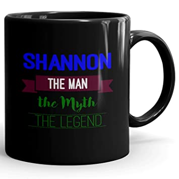 Shannon Coffee Mug Tazas Negras Personalizadas con Nombres - The Man the Myth the Legend - Best Gifts Regalos for Men - 11 oz Black mug - Blue 2: Amazon.es: ...