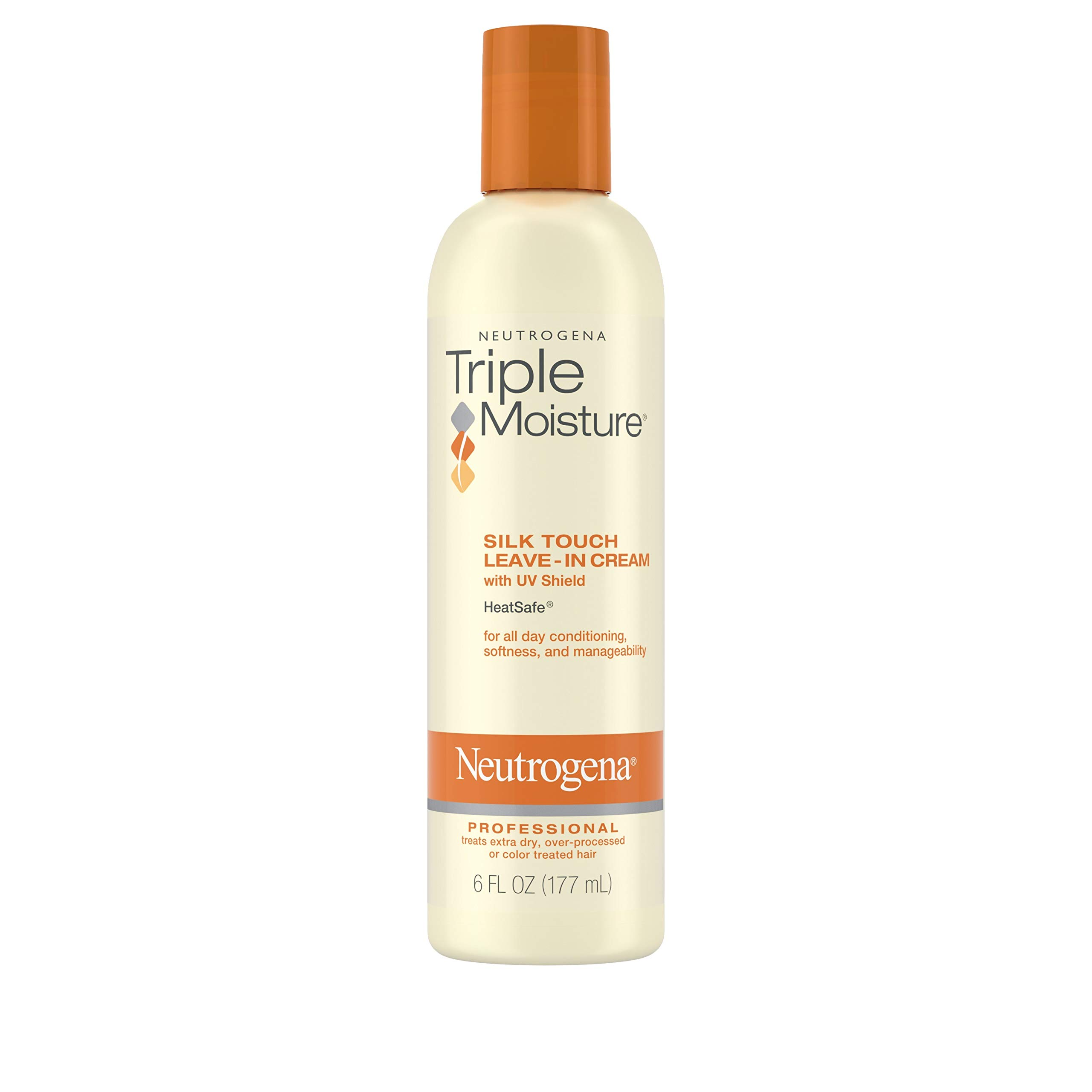 Neutrogena Triple Moisture Silk Touch Leave-In Cream Conditioner for Extra Dry Hair, Damaged & Over-Processed Hair, Hydrating with Olive, Meadowfoam & Sweet Almond, 6 fl. oz