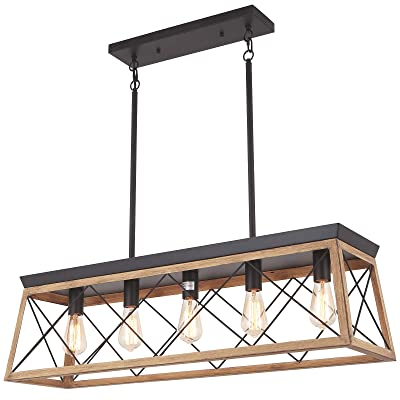 Buy Merbotin Farmhouse Kitchen Island Light 5 Light Distressed Brown Wood Finish Rustic Dining Table Chandelier Ceiling Light Hanging For Dining Room Kitchen Island Grain Brown Wood Finish Hellip Online In Indonesia B08n68wg9w