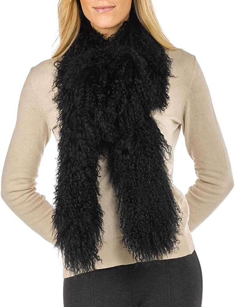 Womens Real Mongolian Sheepskin Long Curly Wool Scarf Boa Ladies
