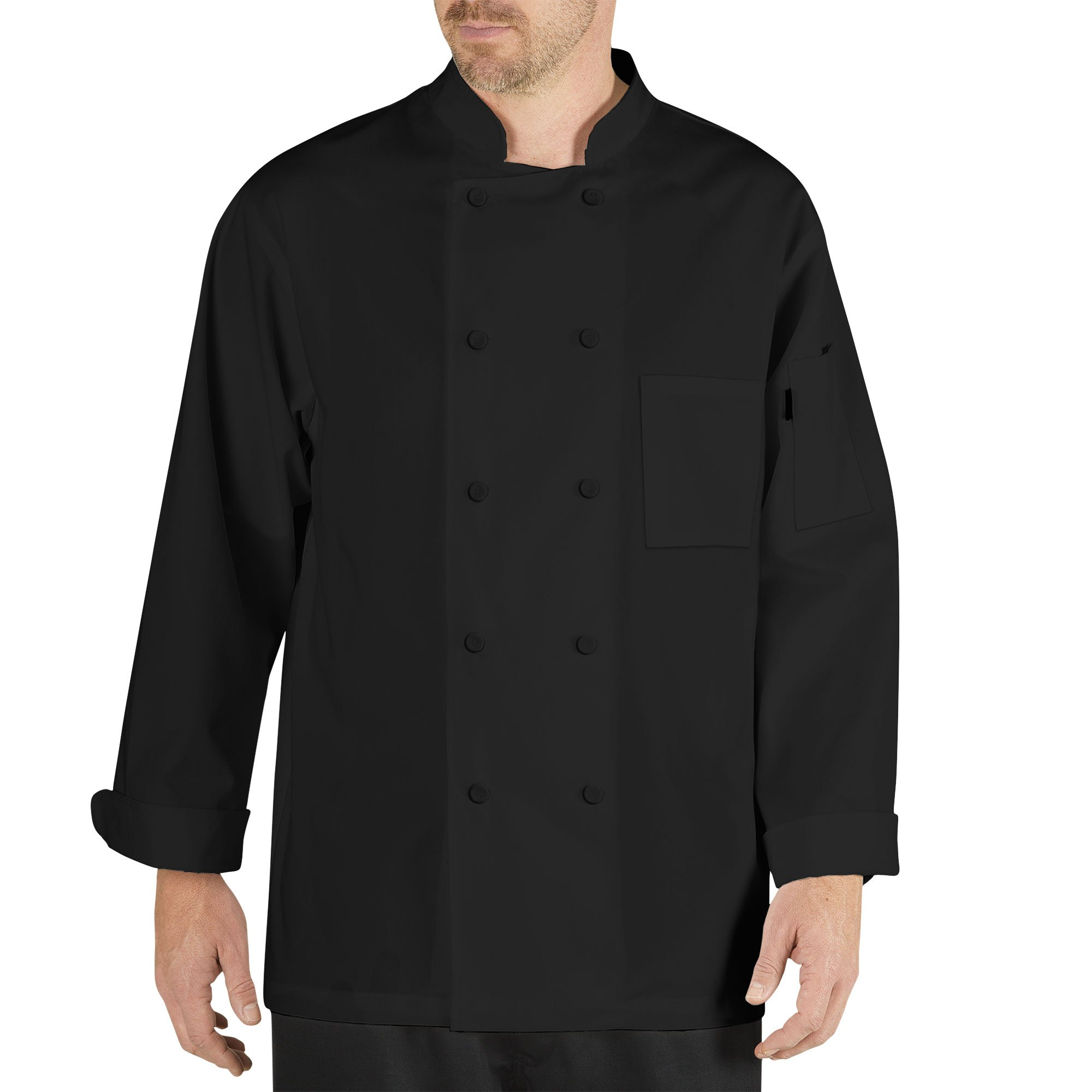 Chef Code Cool Breeze Chef Coat With Long-Sleeves and Mesh Vent Inlay (L, Black)