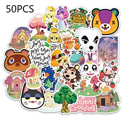 50Pcs Animal Stickers for Hydro Flask Cute Wide World Villager Anime Sticker, Vinyl Waterproof Aesthetic Cartoon Crossing Sticker for Water Bottle, Laptop, Phone Case, Kids Birthday Party Gift: Arts, Crafts & Sewing