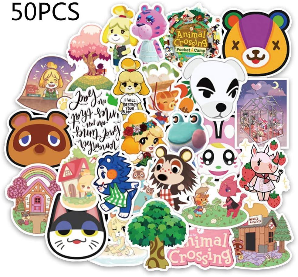/Étanche Vinyle /Étiquette de Bande Dessin/ée D/écorative pour Bouteille Ordinateur Planche T/él/éphone Portable Cadeau pour enfants Adultes Fans Anime Autocollants 50 PCS Animal Crossing Autocollants