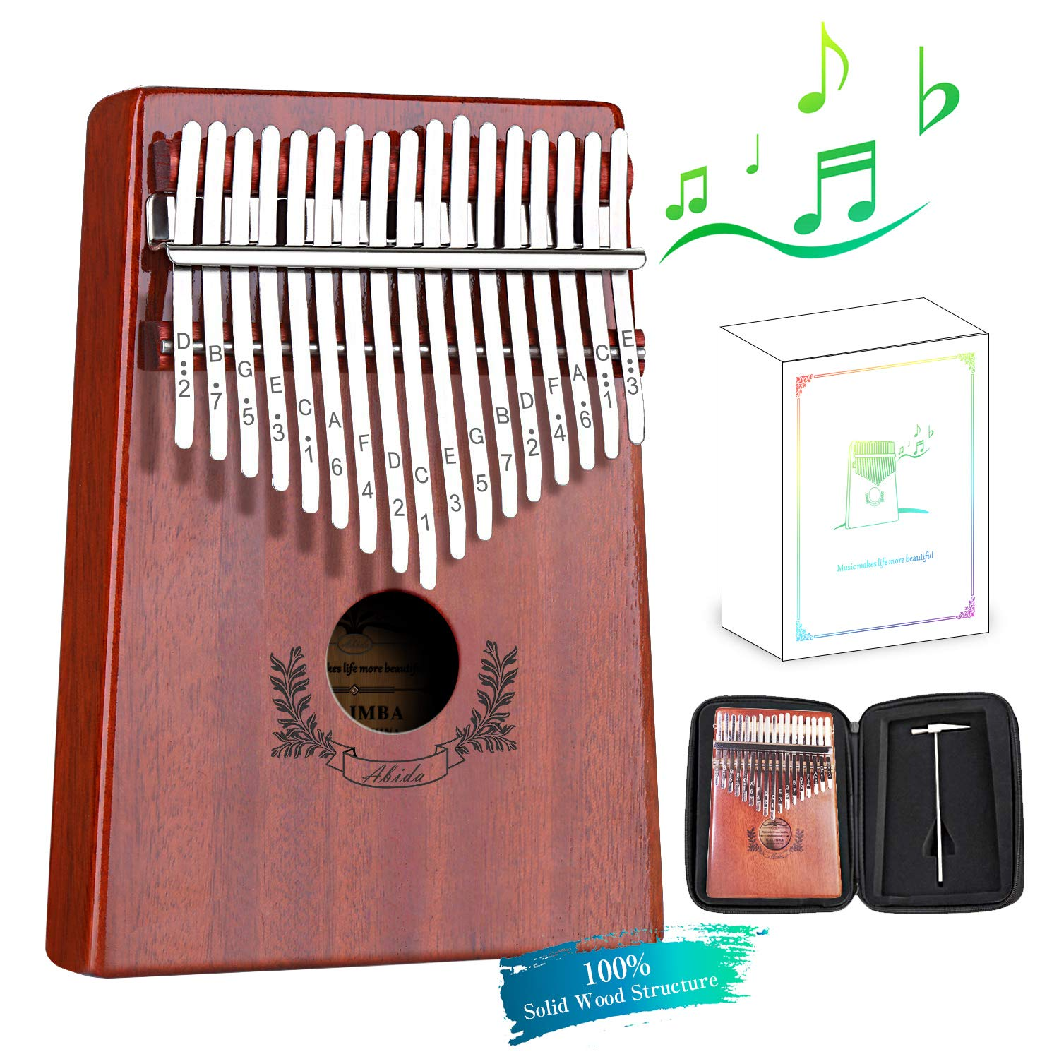 Abida Kalimba 17 Keys Thumb Piano EVA Waterproof Case Study Instruction Tuning Hammer, Solid Finger Piano Mahogany Body Portable Musical Instrument Gifts for Kids and Adult Beginners by Abida