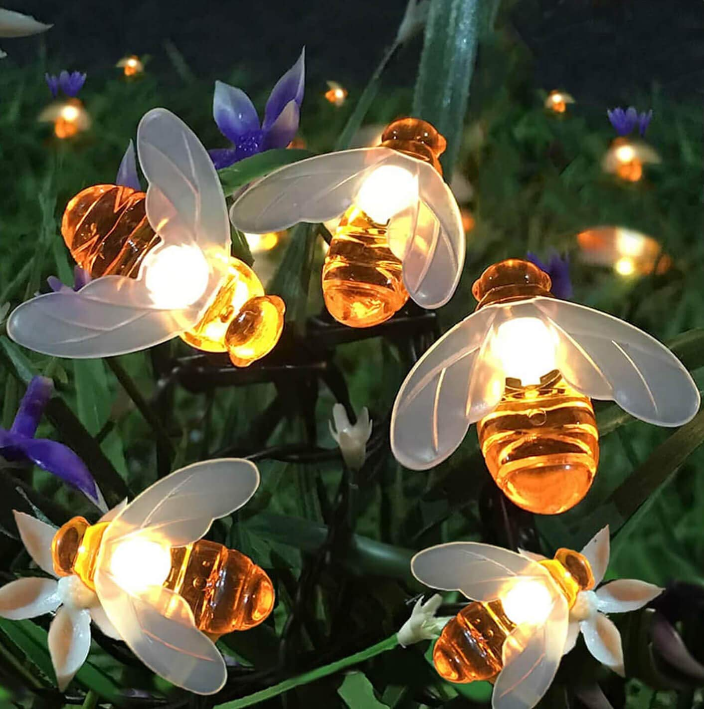 Semilits Solar String Lights 20LED Outdoor Waterproof Simulation Honey Bees Decor for Garden Xmas Decorations Warm White