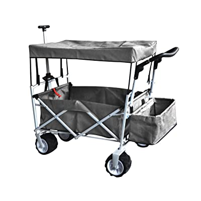 GREY FREE ICE COOLER PUSH AND PULL HANDLE FOLDING BABY STROLLER WAGON OUTDOOR SPORT COLLAPSIBLE KIDS TROLLEY W/ CANOPY GARDEN UTILITY SHOPPING TRAVEL BEACH CART - EASY SETUP NO TOOL NECESSARY: Toys & Games